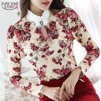2016 Casual Spring Autumn High Collar Crochet Lace Floral Blouses Women Ladies Tops Lace Women Blouses Long Sleeve Shirt S-3XL
