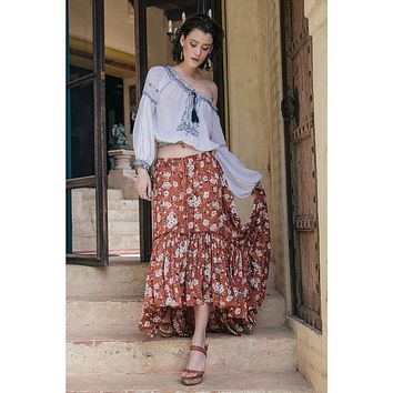 """Boho Maxi Ruffle Skirt """"Gypsy Dancer"""" Maple Brown With Ivory Flowers Plus Size 2X or XXL Long Skirt"""