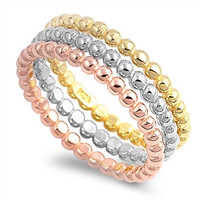 Sterling Silver Stackable CZ Tri-color Band Ring