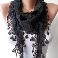 New Gift Scarf- Cotton Scarf - Christmas Gift - Cotton Black Scarf with Trim Edge - Lightweight