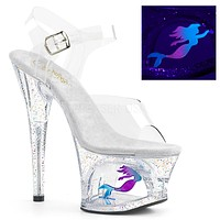 "Moon 708MER Clear Cut Out Platform Neon Mermaid Design 7"" High Heel Shoe"