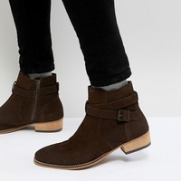 ASOS Chelsea Boot In Brown Suede With Stacked Heel and Strapping Detail at asos.com