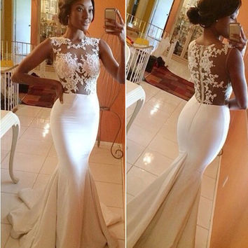 Lace Embroidered Sleeveless Fishtail Bodycon Maxi Dress