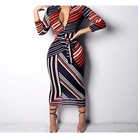 Women Sexy Long Sleeve Stripe Printed Zipper Collar Bandage Dress