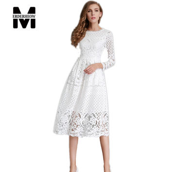 New European 2017 Spring Women's Lace Hollow Out Long Dress