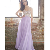 Lilac Strapless Embellished Chiffon Gown