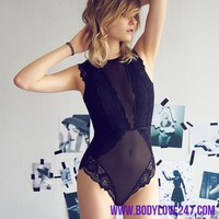 Sexy Mousse Brand Hot Shapers Thin Floral Hollow Out Ladies Sexy Lace Bodysuits Black Female Transparent Shapewear S M L