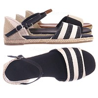 Layover14 Espadrille dOrsay Flat Sandal - Women Peep Toe Ankle Strap Canvas Shoe