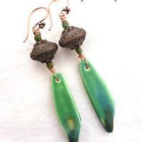 Ceramic drops with Glass and copper metal earrings.