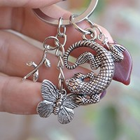 Silver keychain Charm keyring Summer accessories beach car accessory Butterfly Lizard woodland Cute Keychains Charms Bag Charm boho bohemian best friend gift