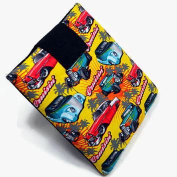 Hand Crafted Tablet Case from Cruisin' Cars Fabric / Case for iPadmini, Kindle Fire HD7, Samsung Galaxy Tab7, Google Nexus 7,Nook HD 7
