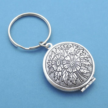 Flower, Round, Circle, Locket, Keycahin, Keyring, Key, Chain, Family, Friendship, Gift, Jewelry, Key, Ring, Accessories