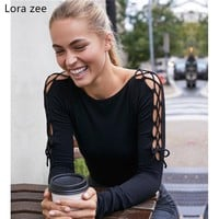 LORA ZEE side tie knitted long sleeve workout tops navy cropped women shirts criss cross active wear gym yoga top sports t shirt