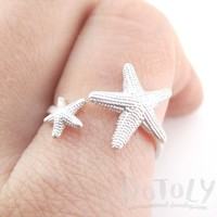 Ocean Inspired Starfish Shaped Open Adjustable Ring in Silver | DOTOLY