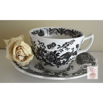 Ridgway Black English Transferware Toile Teacup & Saucer Roses Birds Windsor Asiatic Pheasants