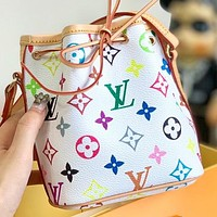 LV Fashion New Monogram Print Leather Shoulder Bag Crossbody Bag Bucket Bag White