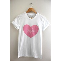 Pink Psycho Heart White Graphic Unisex Tee