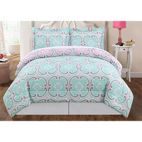 Pem America CS8810QN-1500 Mint Blue and Pink Three-Piece Full/Queen Comforter Set - (In No Image Available)