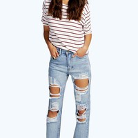 Light Blue Large Rip Boyfriend Jeans | Boohoo