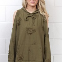 Cold Shoulder Distressed Out Hoodie {Olive}