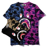 BAPE AAPE Classic Fashion Couple Casual Round Collar Camouflage T-Shirt Top Blouse