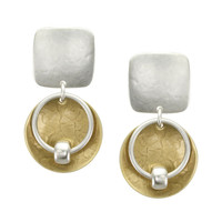 Marjorie Baer Clip On Earrings in Silver and Brass with Beaded Ring over Disc