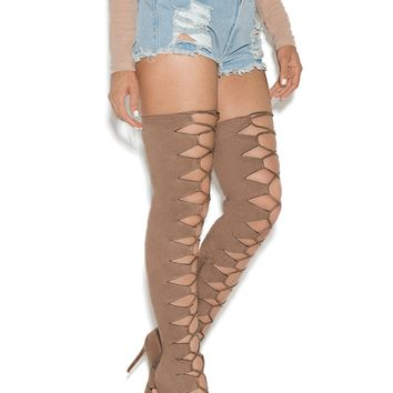 CHAOS LACE UP THIGH HIGH SUEDE BOOTS - TAN