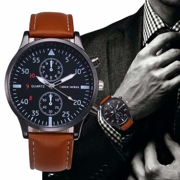 Luxury Leather Business Quartz-Watch Men