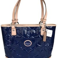 Coach F22322 Peyton Embossed Patent Leather Signature Navy/Tan Tote Bag 43% off retail