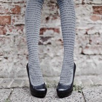 Love Text Print Tights Grey & Black- Designer Tights