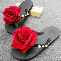 2017 Women's Flip Flop Open Toe New Summer Slippers Foreign Trade Hand Sewn Pearl Flocking Roses Vacation Beach NonSlip Slippers