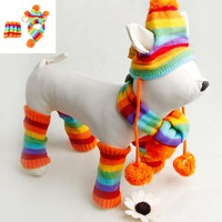 Autumn Winter Pet Products Dog Clothes Stripe Knitted Hat Scarf Dog Coats Warm Puppy Dog Clothes Clothes For Dog 4 Size