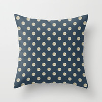 Full Moon Polka Dot Throw Pillow by Paula Belle Flores