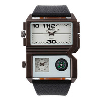 Mens Two Time Zones Leather Strap Wrist Watches Boys Outdoor Sports Tourism Watch Best Christmas Gift