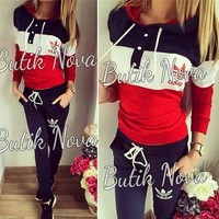 Casual Bottom & Top Stylish Patchwork Hats Hoodies Pants Set [10885114119]