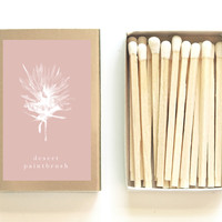 Desert Paintbrush Botanical Matchbox - Pretty Matches - Desert Wildflower - Burgundy & Gold - Wedding Matchbox Favor - Light a Summer Spark