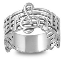 Sterling Silver Music Note G-Cleff Ring (Size 5 - 10) - Size 9