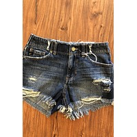 Avery High Rise Girlfriend Short - Dark Blue