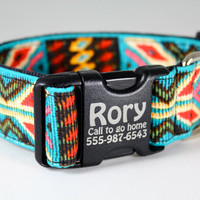 """Custom engraved dog collar--Navajo Spirit dog collar 1.5"""" extra wide in faux bead turquoise and red in southwestern pattern"""