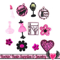 Jesse James Buttons 12pc GIRLS NIGHT OUT Flatback Cabochons, Charms, & Button Embellishments