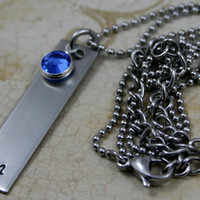 Personalized Hand Stamped Stainless Steel Initial Necklace