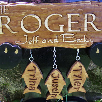 Personalized Family Childs Name Custom Sign camp lake cabin by Lovejoystore