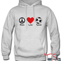 peace love and soccer hoodie