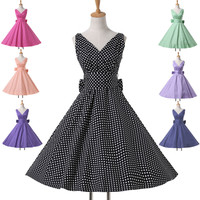 WOMEN POLKA DOT PINUP SWING 1950's 1960's HOUSEWIFE DRESS VINTAGE EVENING DRESS