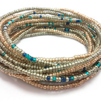 Seed bead wrap stretch bracelets, stacking, beaded, boho anklet, bohemian, stretchy stackable multi strand, metallic silver gold blue teal