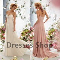 New Style Ivory Chiffon Long Bridesmaid Evening Gowns Formal Wedding Prom Dresses Custom US 2 4 6 8 10 12 14 16