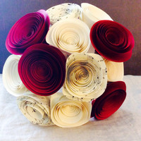 Bouquet paper music sheet flowers country wedding home decor shabby chic rose red