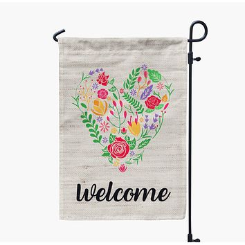 Floral Heart Welcome Valentine's Day Garden Flag