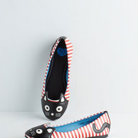 Kawaii Up Your Alley Cat Flat in Stripes by T.U.K. from ModCloth