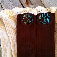 Monogrammed Knit Boot Socks with ivory lace Oatmeal, Chocolate Brown, Grey, Black